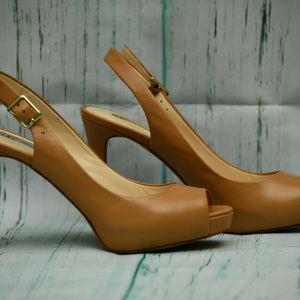 INC Tan Peep Toe Slingback Spike Heels Size 6.5